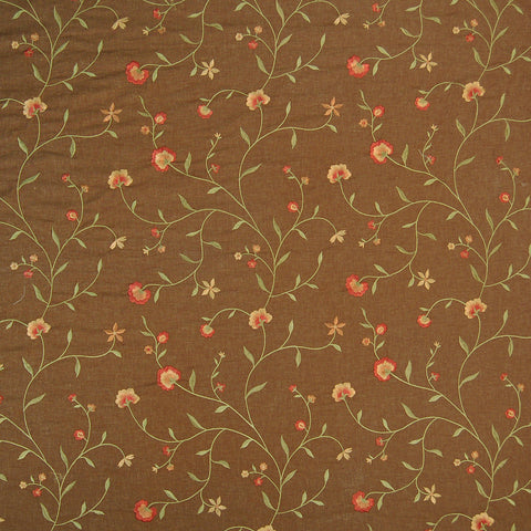 Cocoa Brown Red Floral Embroidery Linen Upholstery Fabric