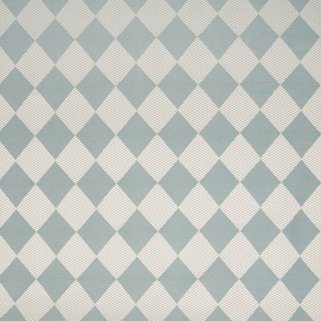 Frost Blue Teal White Contemporary Diamond Woven Damask Upholstery Fabric