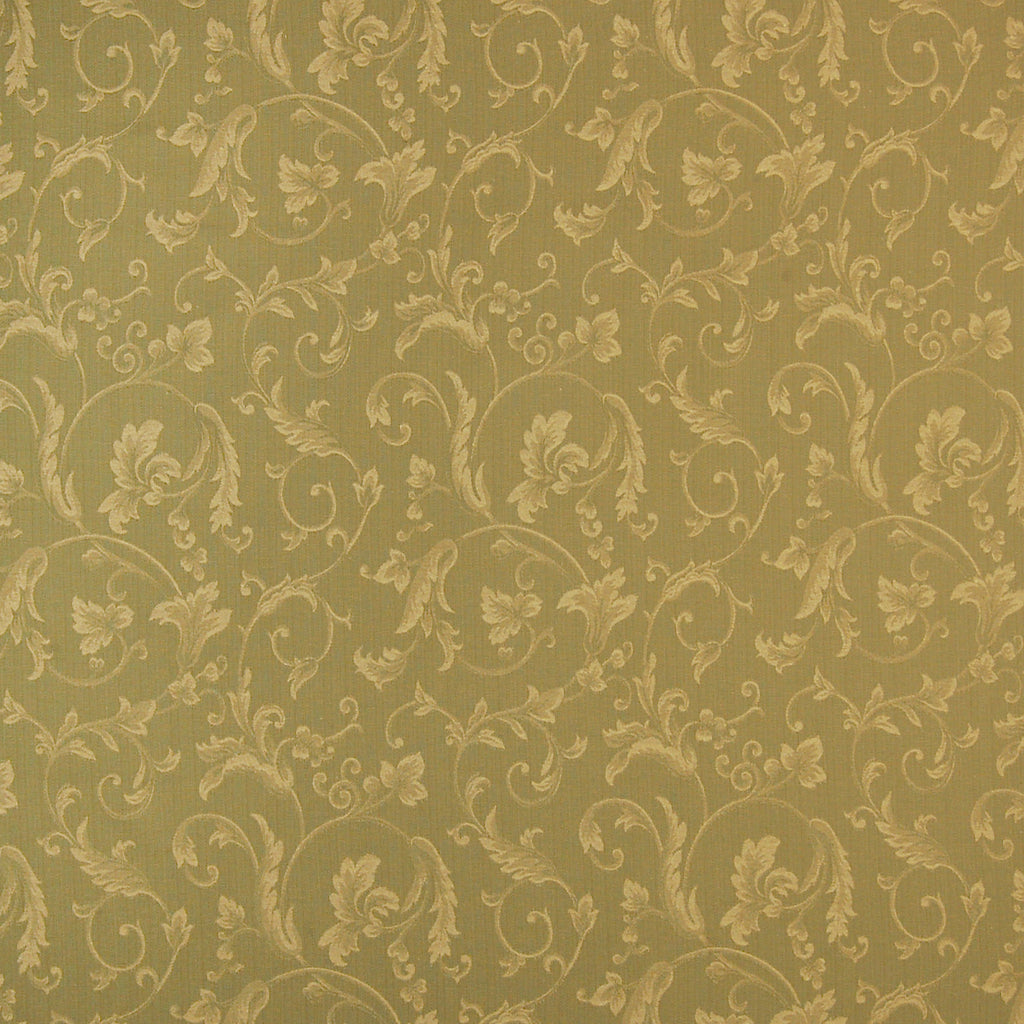 Leaf Green Floral Jacquard Cotton Upholstery Fabric
