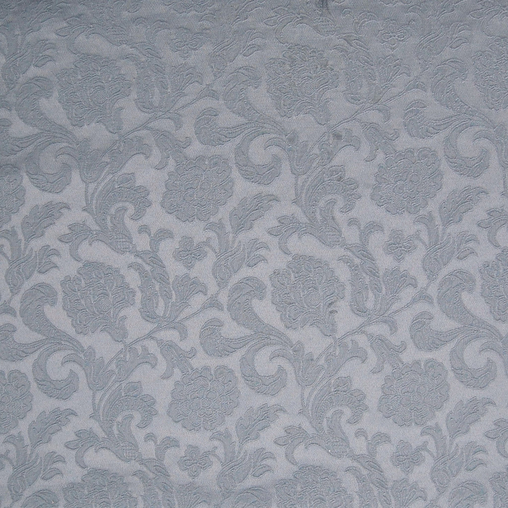 Sailboat Blue Gray Damask Floral Jacquard Upholstery Fabric