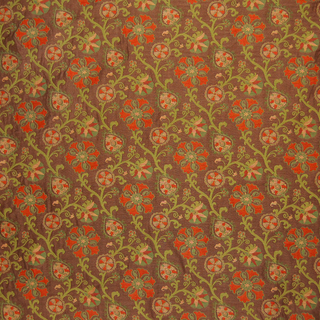 Earth Brown Brown Red Orange Floral Matelasses Woven Upholstery Fabric
