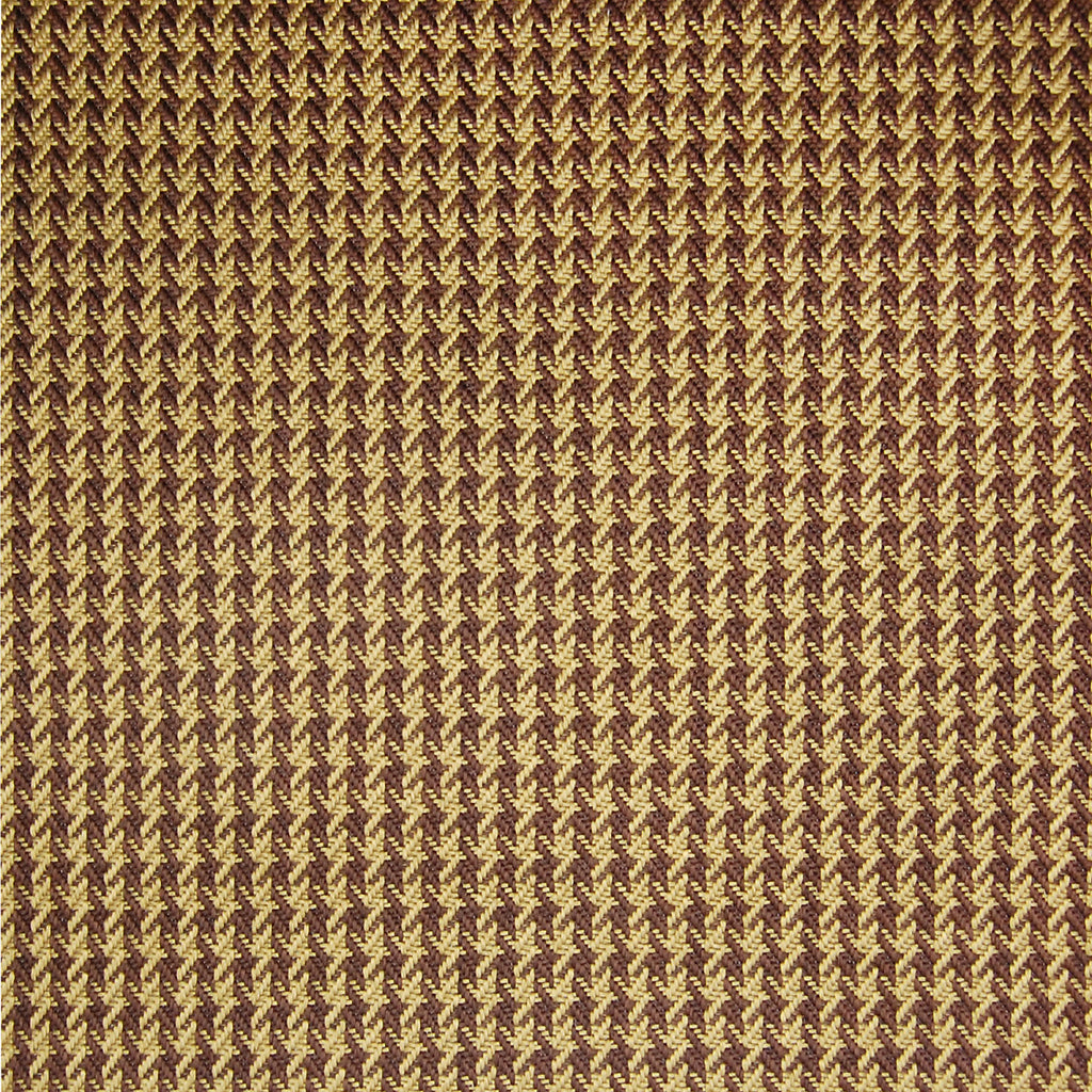 Saddle Brown Check Houndstooth Plaid Woven Upholstery Fabric
