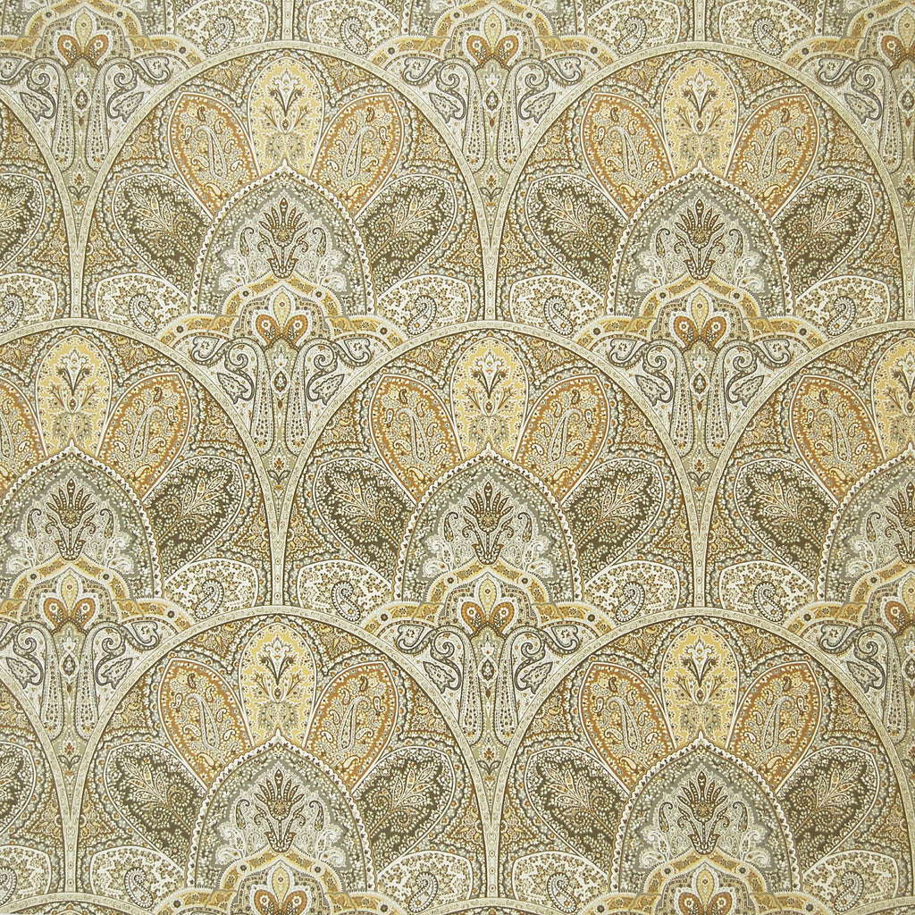 Opal Neutral Paisley Medallion Print Cotton Upholstery Fabric