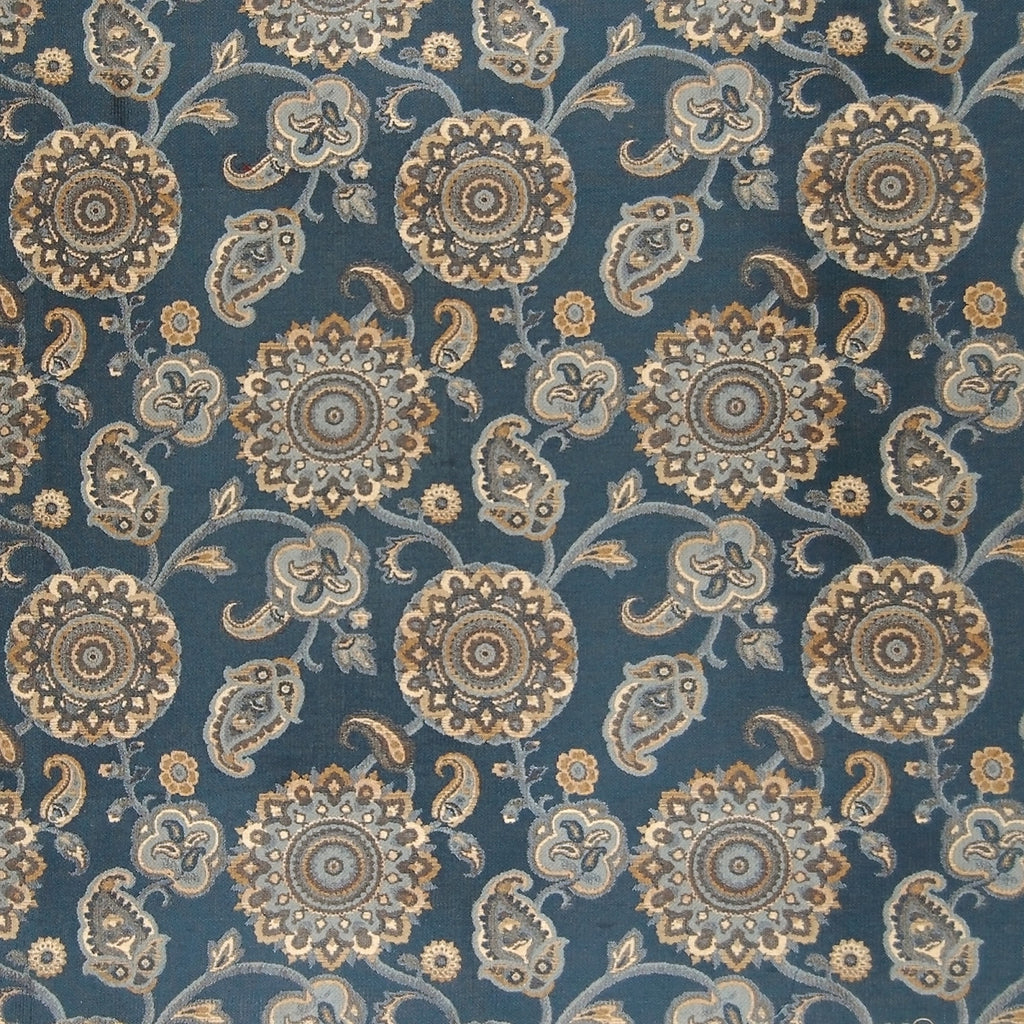 Federal Blue Floral Suzani Tapestry Jacquard Made in USA Cotto Upholstery Fabric