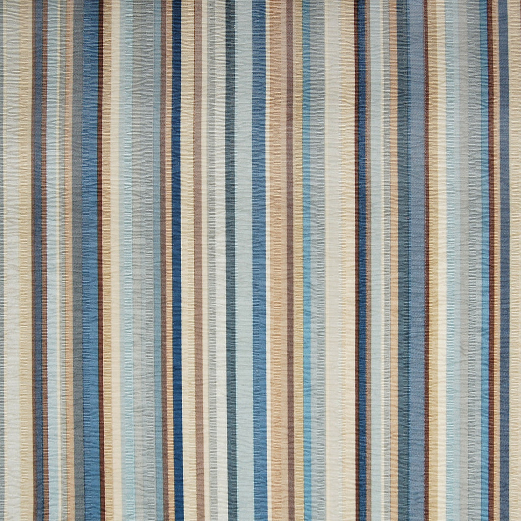 Pond Blue Stripe Cotton Faux Silk Woven Upholstery Fabric