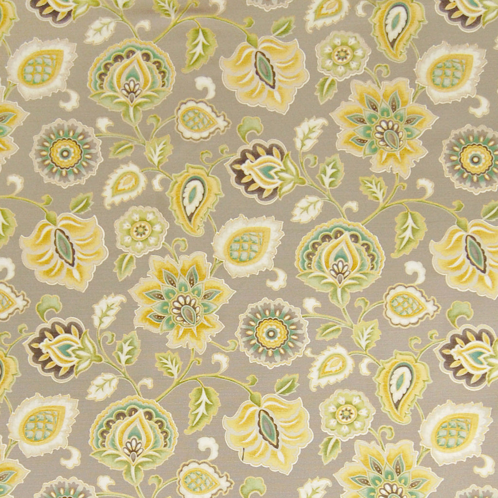 Winterwood Yellow Neutral Floral Cotton Prints Upholstery Fabric