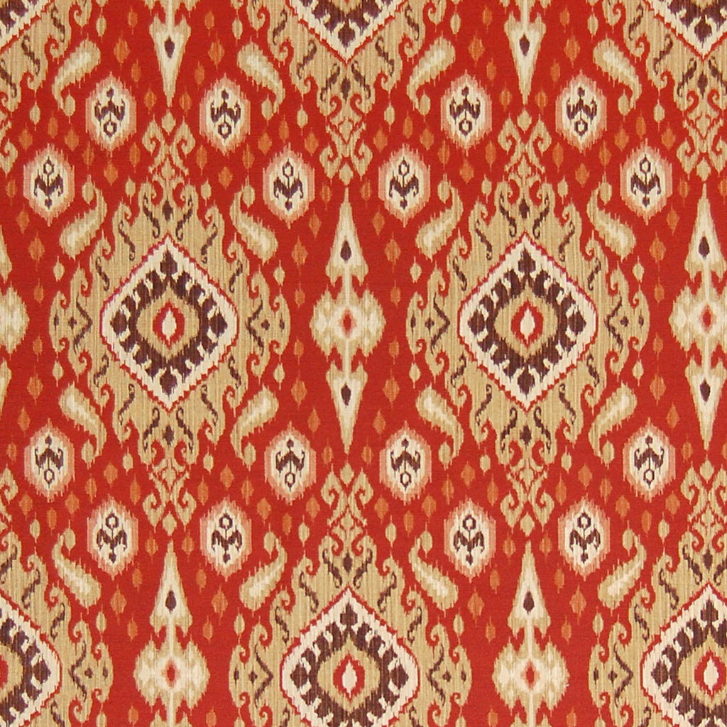 Brick Red Ikat Medallion Southwest Cotton Prints Upholstery Fabric