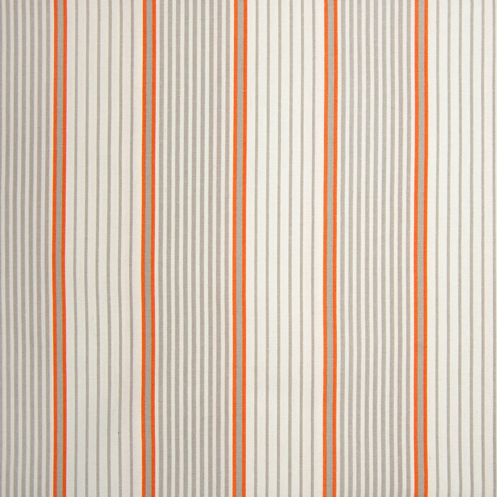 Mandarin Orange Stripe Cotton Made in USA Prints Upholstery Fabric