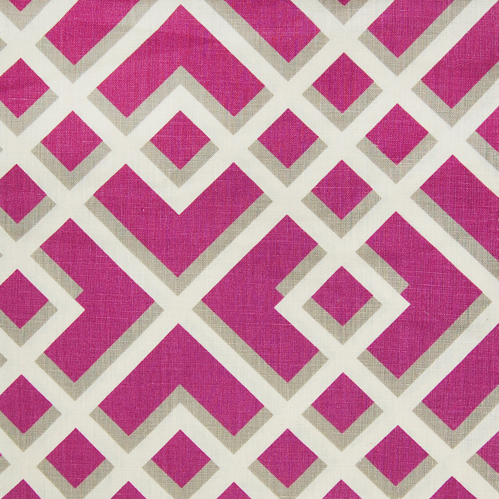Fuschia Purple Geometric Asian Linen Upholstery Fabric