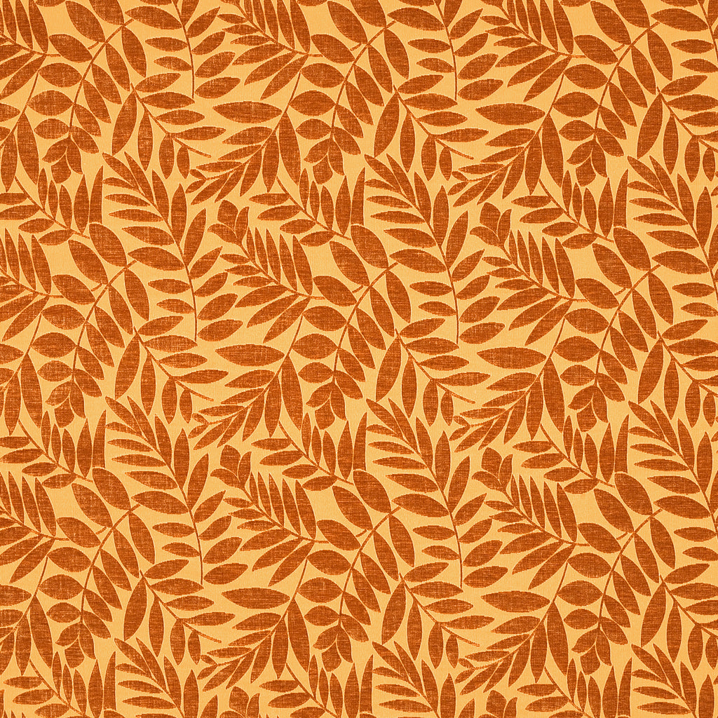 Arbor Day Orange Orange Pastel Leaves Floral Woven Pile Upholstery Fabric