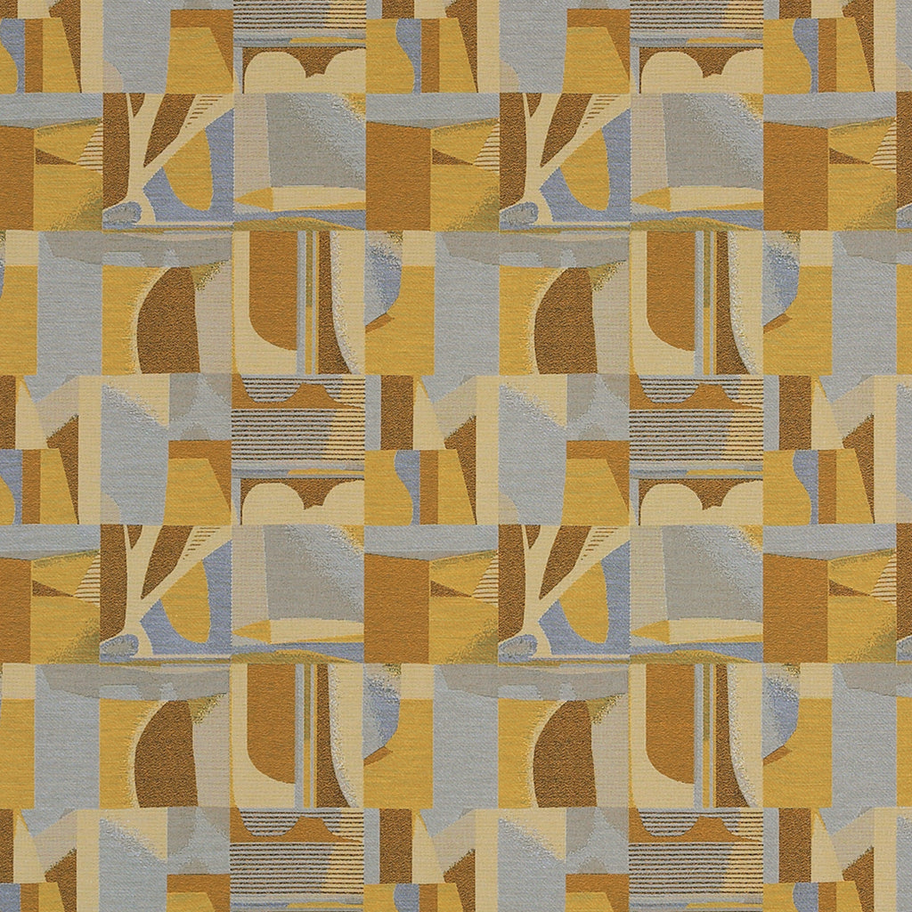 Architectonic Interior Yellow Blue Gold Aqua Sky Abstract Wove Upholstery Fabric