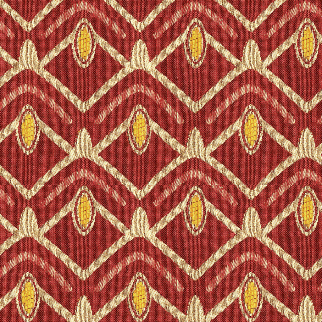 Avion Pioneer Red Yellow True Red Geometric Woven Chenile Upholstery Fabric