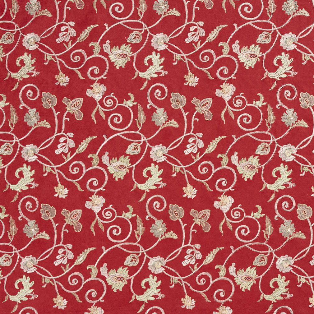 Burgundy Red Rust Floral Microfiber Microsuede Upholstery Fabric