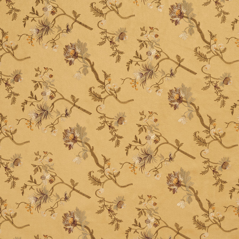 Gold Yellow Floral Microfiber Microsuede Upholstery Fabric