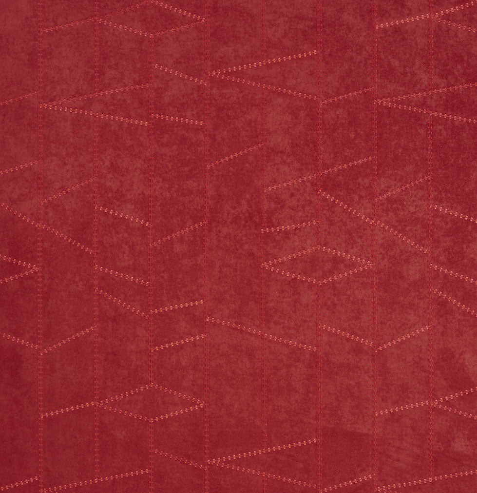 Burgundy Red Rust Abstract Geometric Microfiber Microsuede Upholstery Fabric