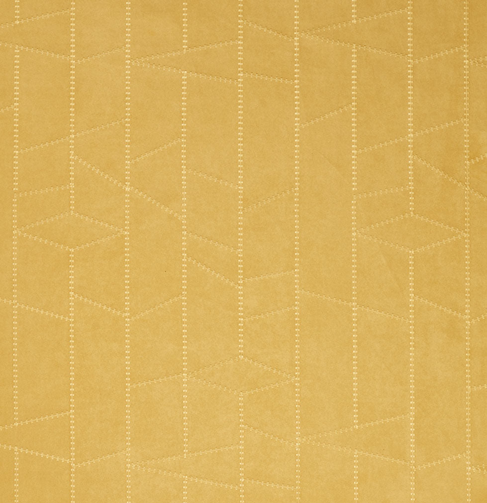 Gold Yellow Abstract Geometric Microfiber Microsuede Upholstery Fabric