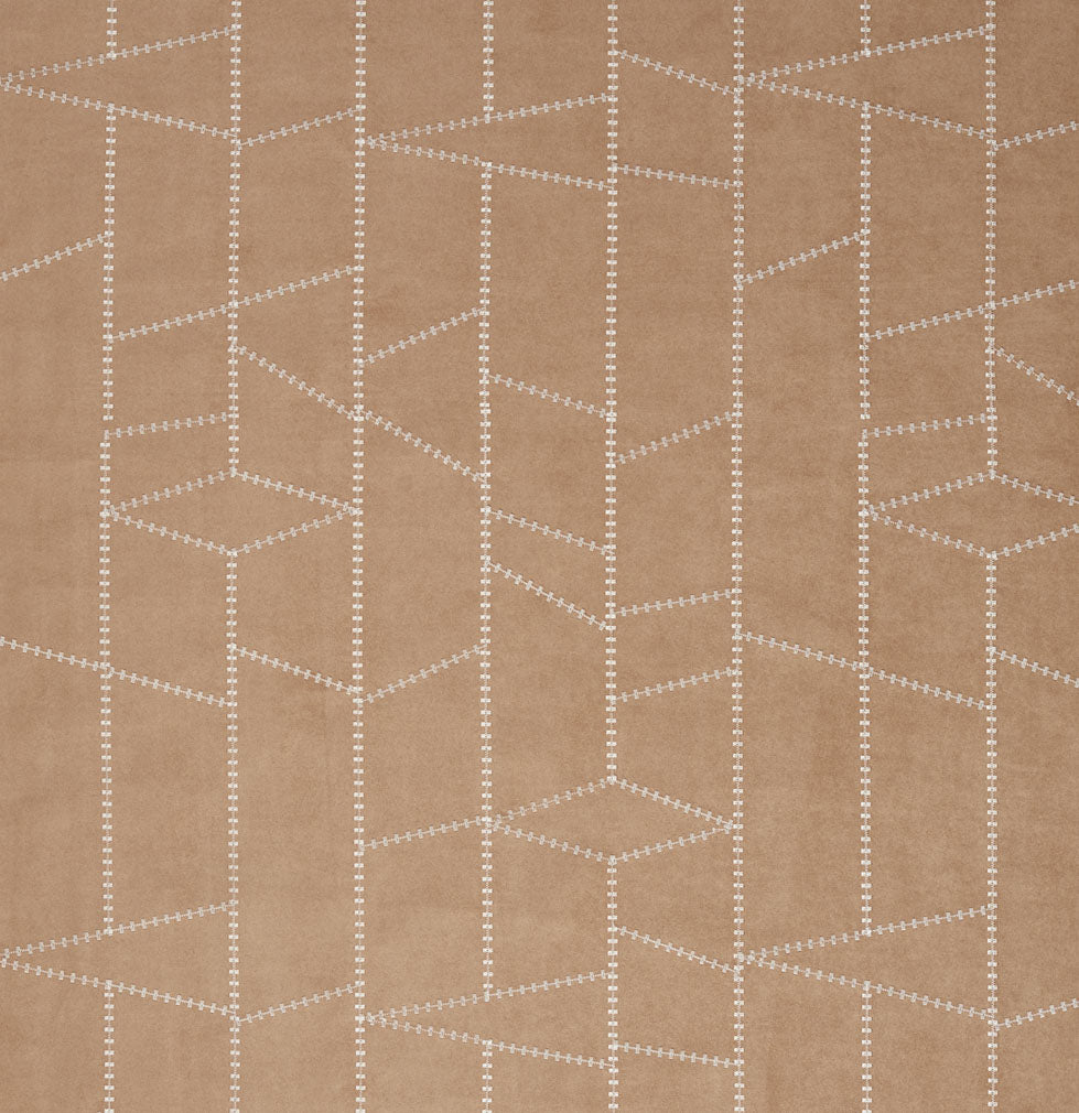 Beige Tan Taupe Brown Abstract Geometric Microfiber Microsued Upholstery Fabric