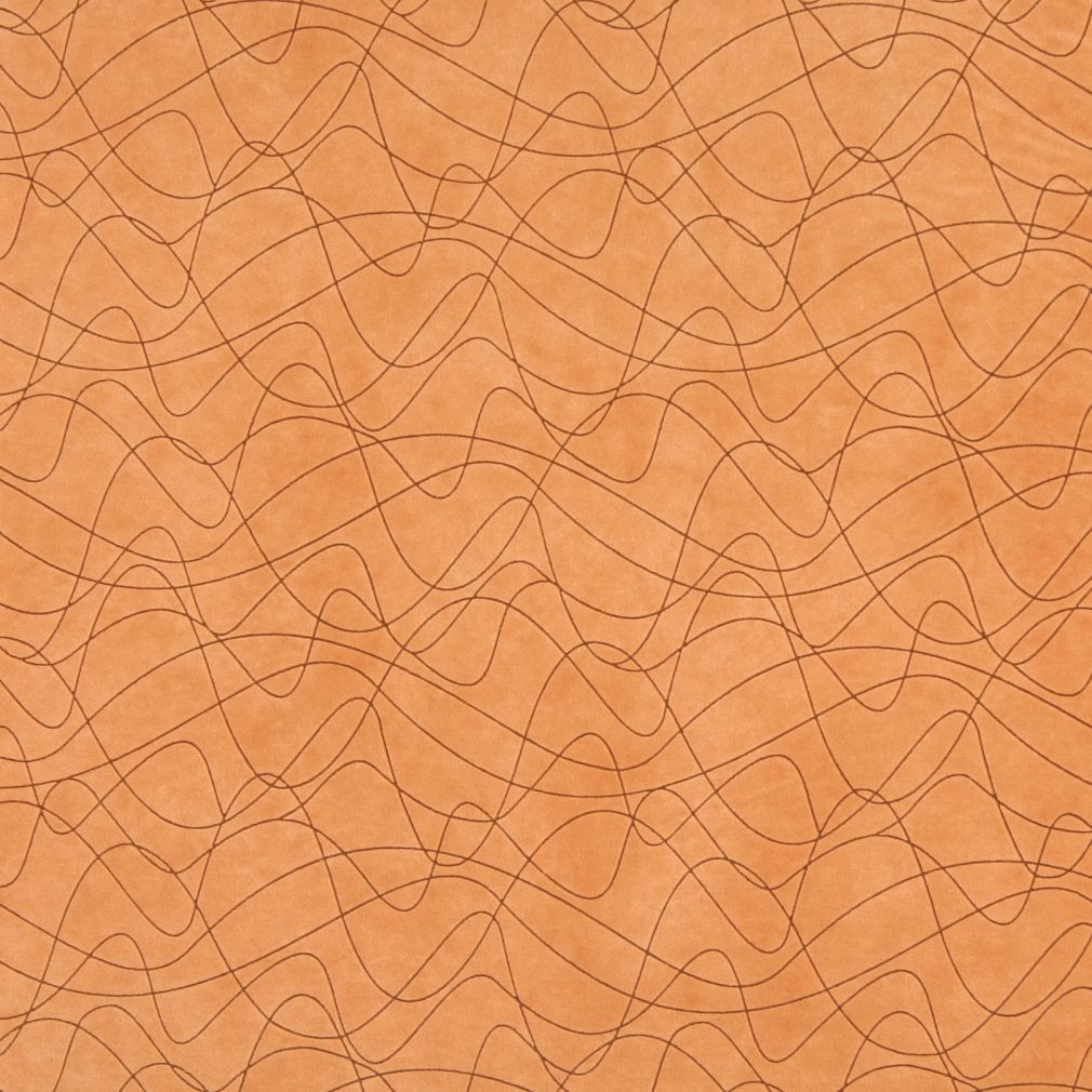 Coral Orange Persimmon Abstract Geometric Microfiber Microsue Upholstery Fabric