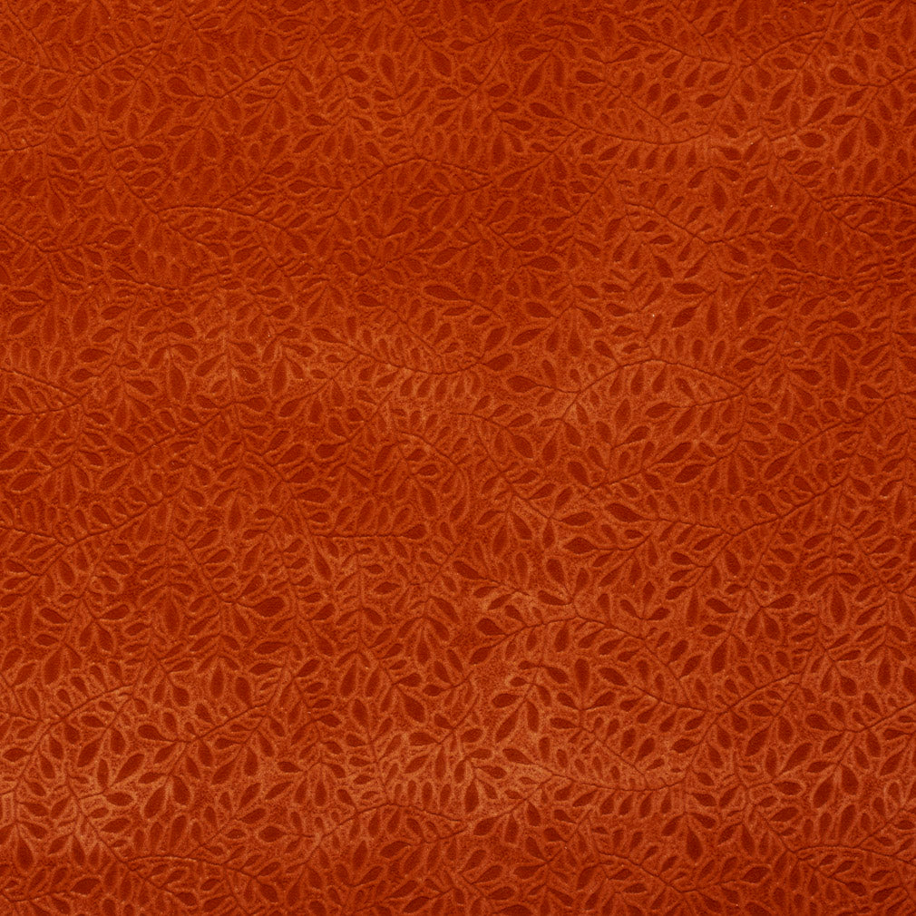 Coral Orange Persimmon Foliage Microfiber Microsuede Velvet Upholstery Fabric