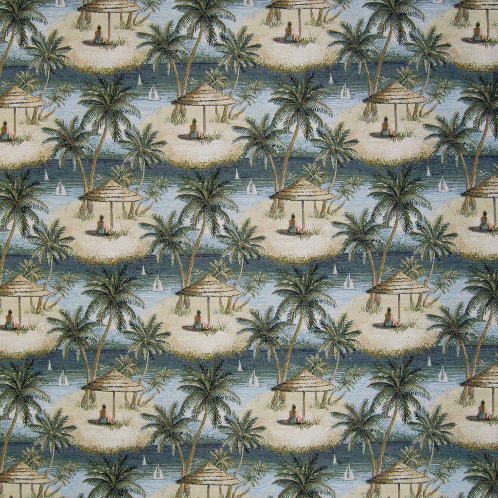 Multi Green Tapestry Novelty Tropical Beach Floral Jacquard Co Upholstery Fabric
