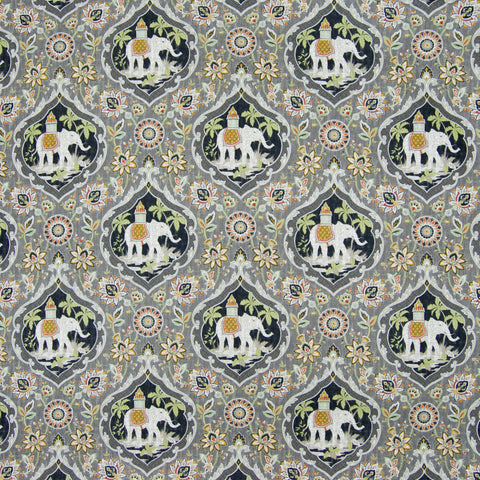 Dolphin Gray Animal Medallion Asian Novelty Print Cotton Upholstery Fabric
