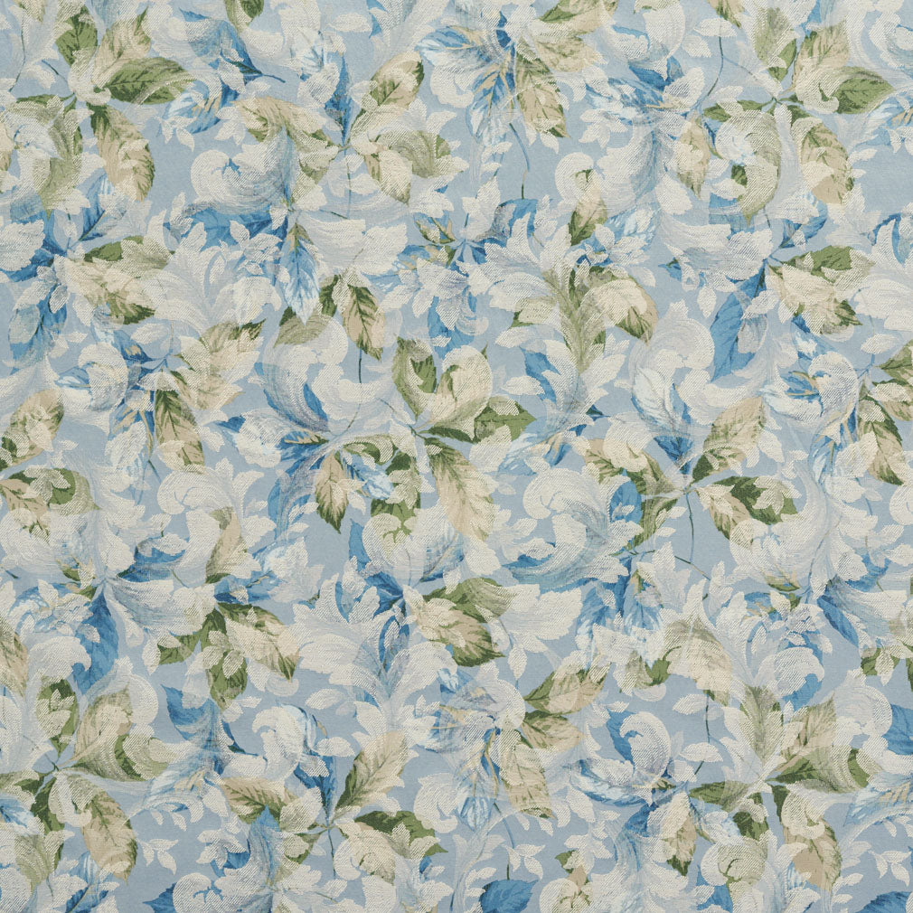 Light Blue Light Geen Foliage Damask Jacquard Print Upholstery Fabric