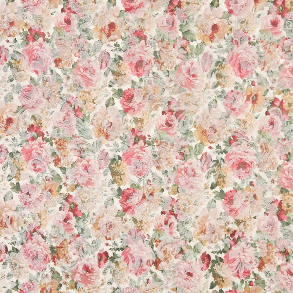 Gold Yellow Light Geen Pink Rose White Floral Damask Jacquard Upholstery Fabric