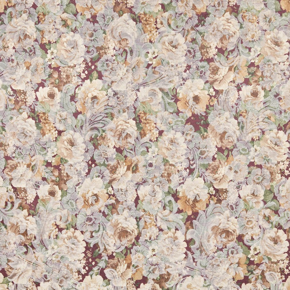 Brown Gold Yellow Light Geen Lilac Purple Floral Damask Jacqu Upholstery Fabric