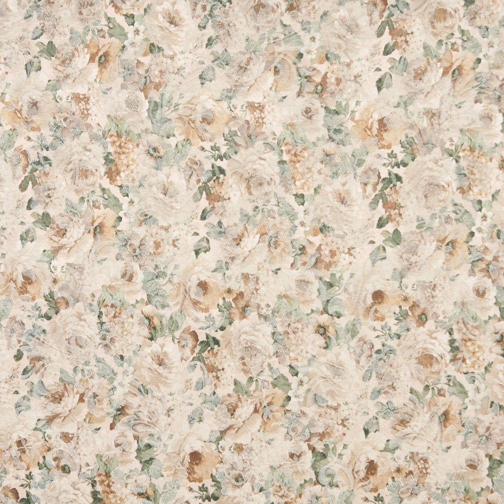 Beige Tan Taupe Gold Yellow Light Geen Floral Damask Jacquard Upholstery Fabric