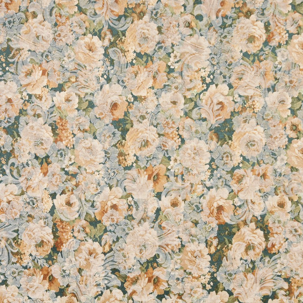 Dark Green Gold Yellow White Floral Damask Jacquard Print Upholstery Fabric