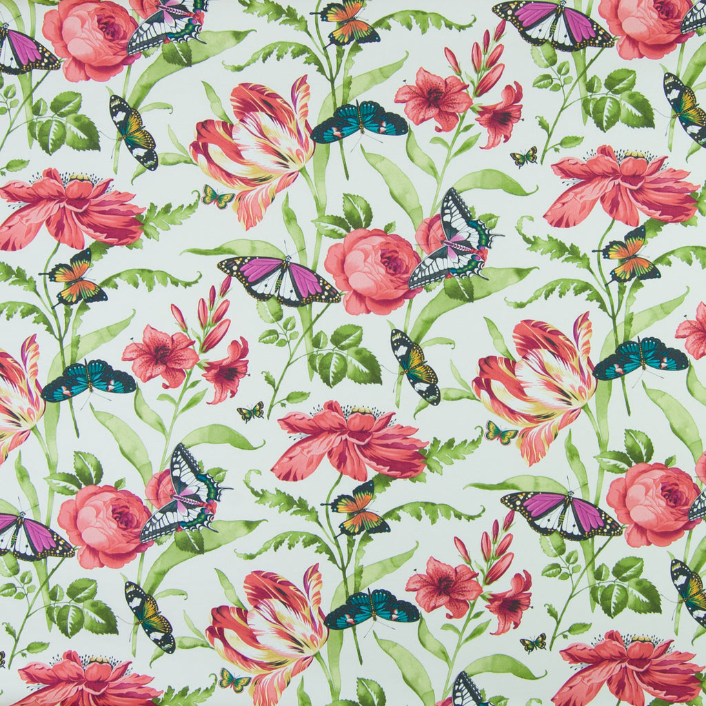 Poppy Red Floral Animal Print Cotton Upholstery Fabric