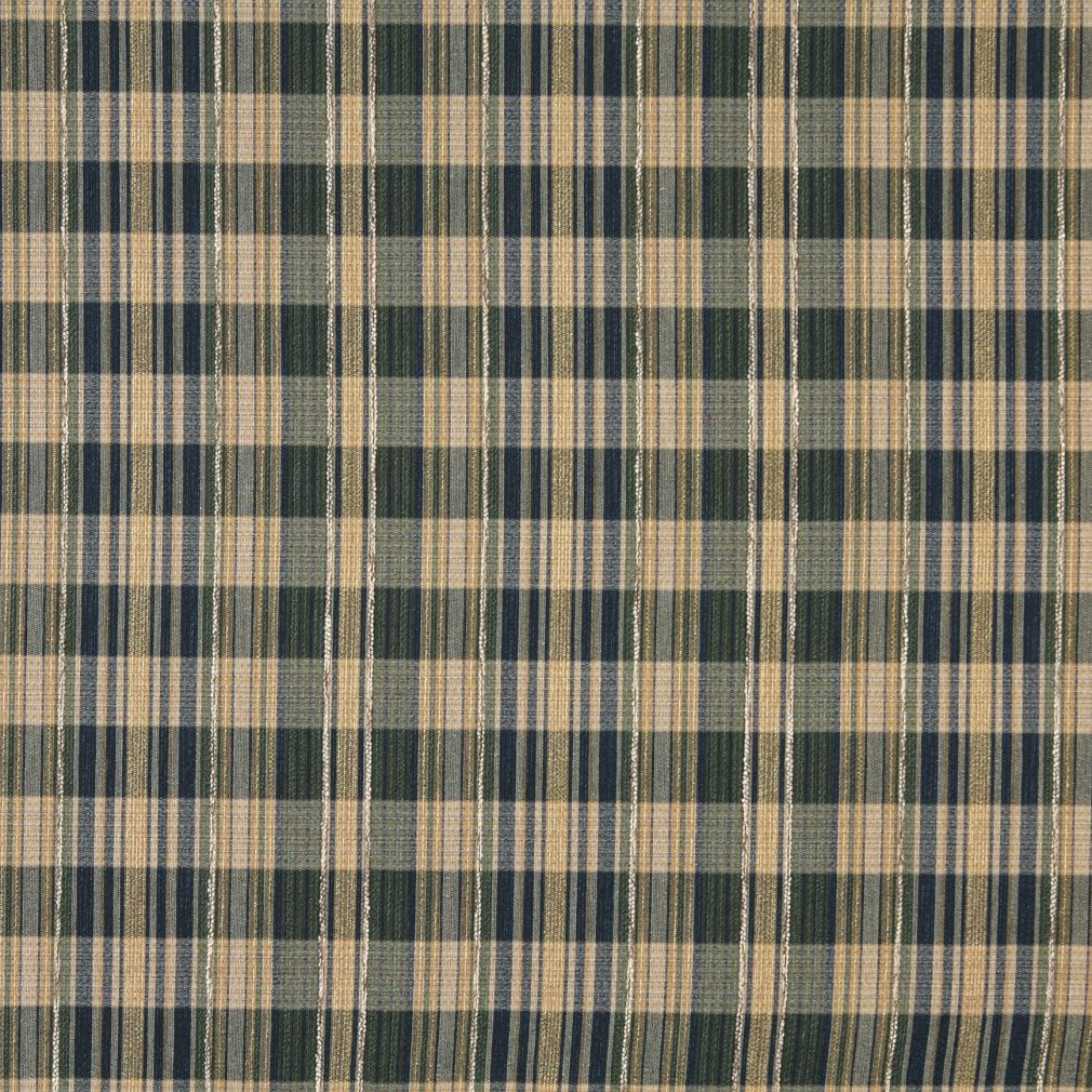 Beige Tan Taupe Dark Blue Gold Yellow Plaid Gingham Tweed Upholstery Fabric