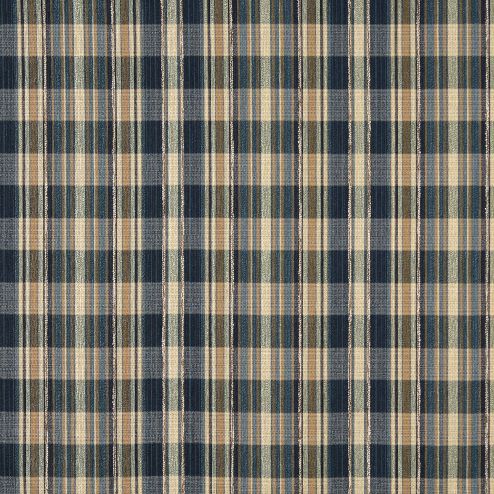Beige Tan Taupe Dark Blue Gold Yellow Plaid Gingham Linen Sil Upholstery Fabric