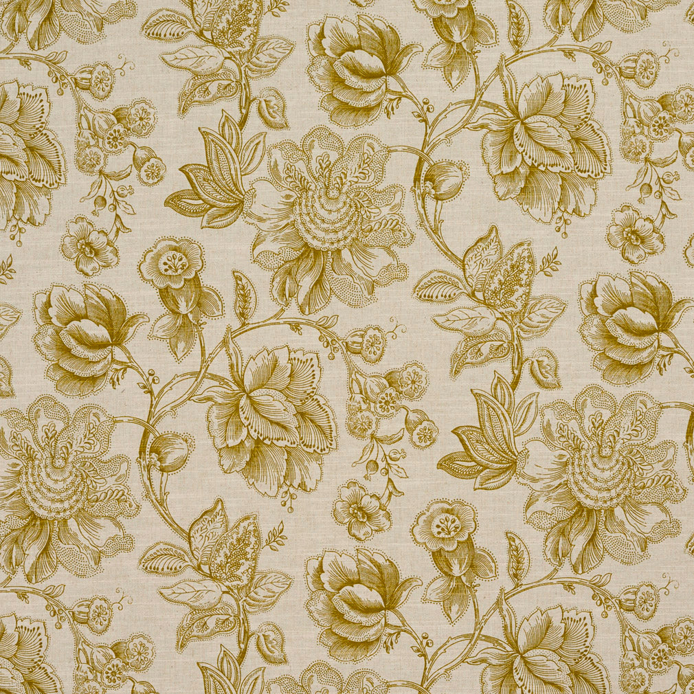 Beige Tan Taupe Light Geen White Floral Foliage Tropical Line Upholstery Fabric
