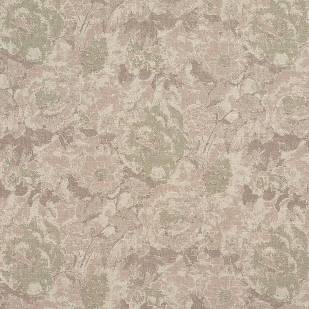 Beige Tan Taupe Light Geen White Floral Foliage Heirloom Vint Upholstery Fabric