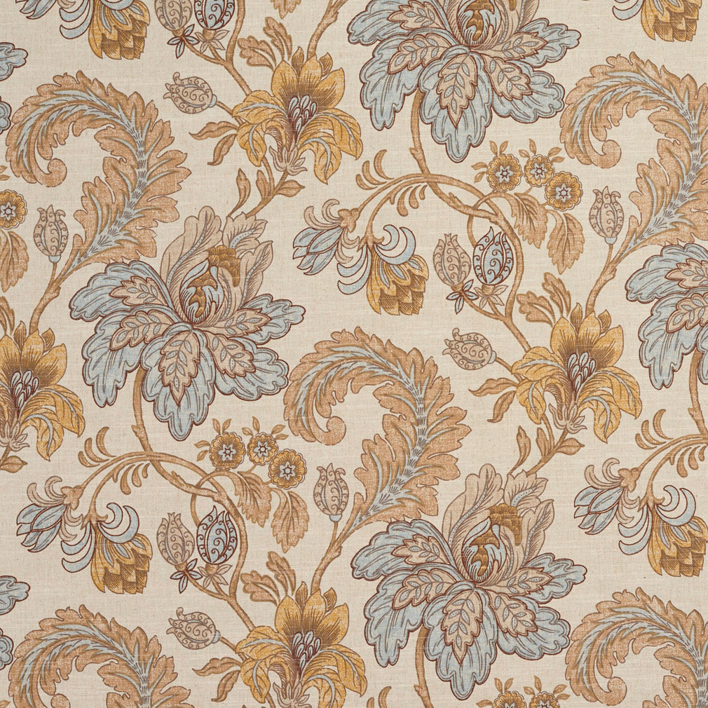 Beige Tan Taupe Gold Yellow Light Blue White Floral Foliage L Upholstery Fabric