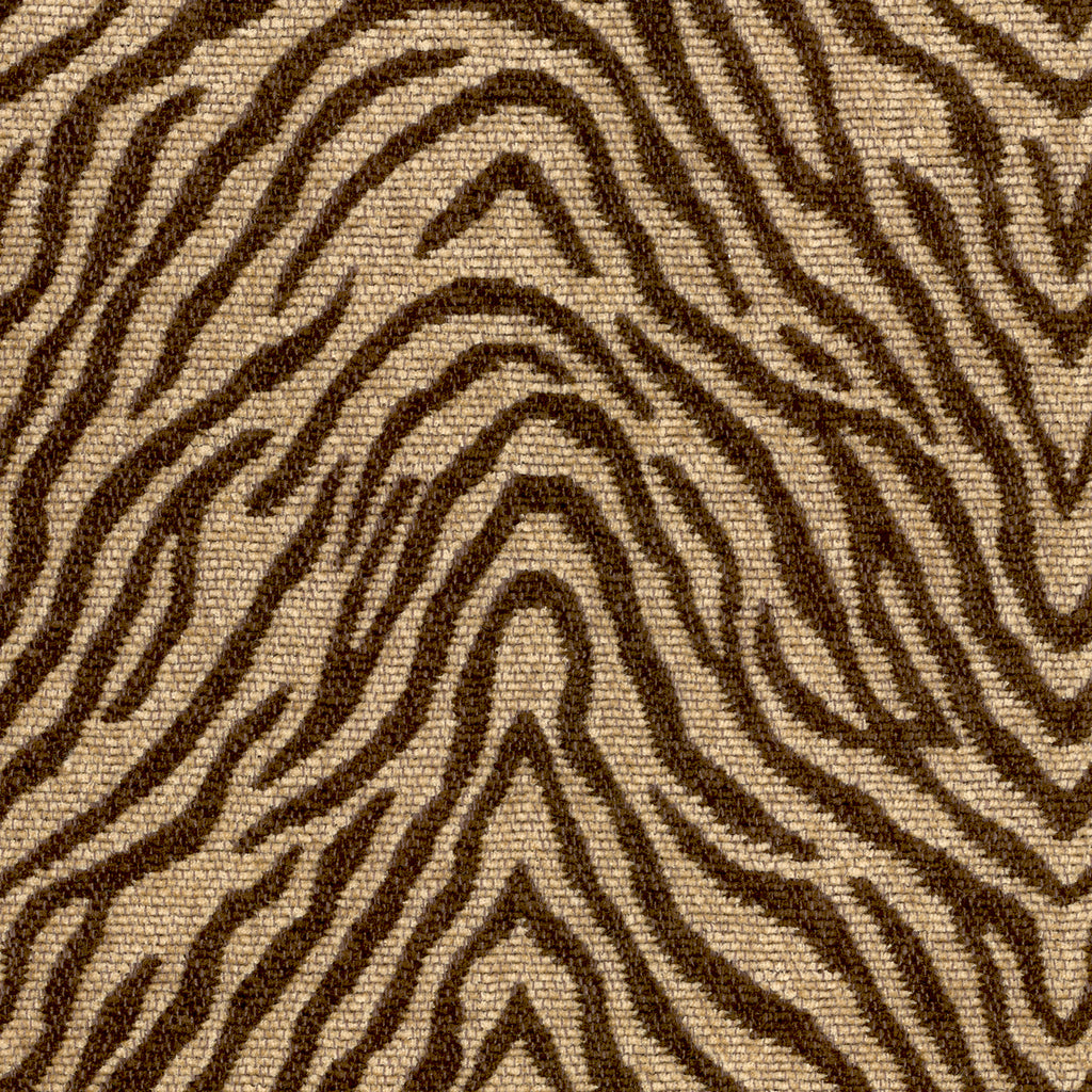 Beale Street Big Game Brown Tan Beige Curvilinear Woven Chenil Upholstery Fabric