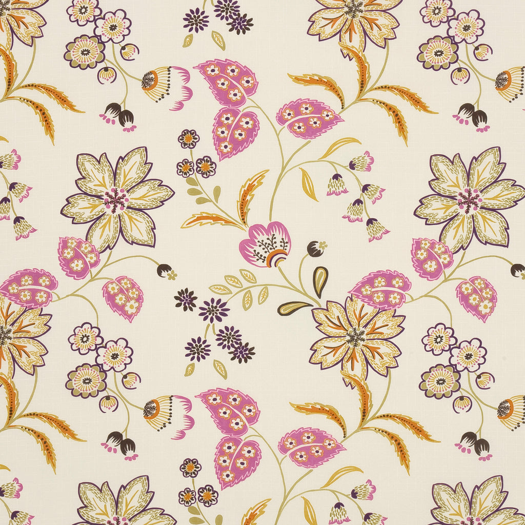 Bellissima Sol Brown Red Tan Beige Pastel Pink Leaves Floral W Upholstery Fabric