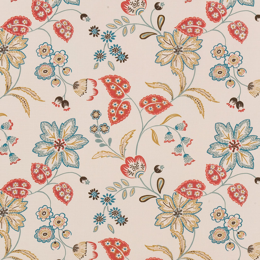 Bellissima Spring Brown Orange Tan Beige Leaves Floral Woven F Upholstery Fabric