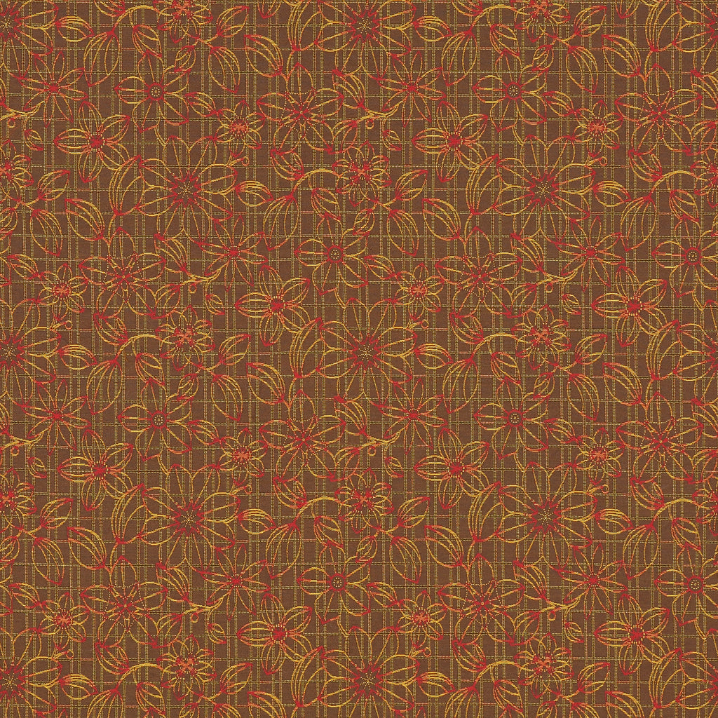 Blueprint Floral Nutmeg Brown Red Chocolate True Red Leaves Fl Upholstery Fabric