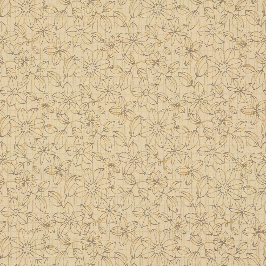 Blueprint Floral Oyster Brown Gray Tan Beige Gray Charcoal Lea Upholstery Fabric