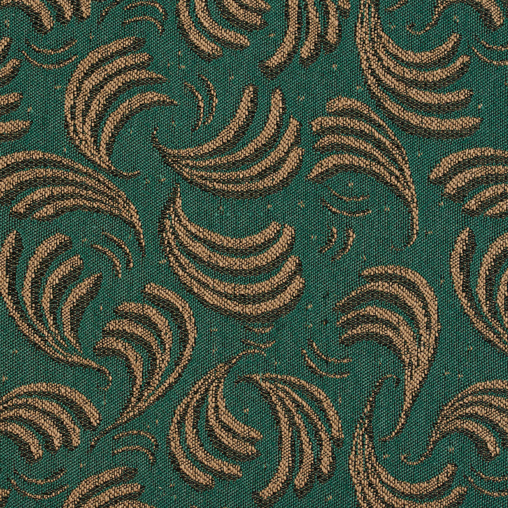 Spruce Brown and Green Swirl Pattern Damask Upholstery Fabric