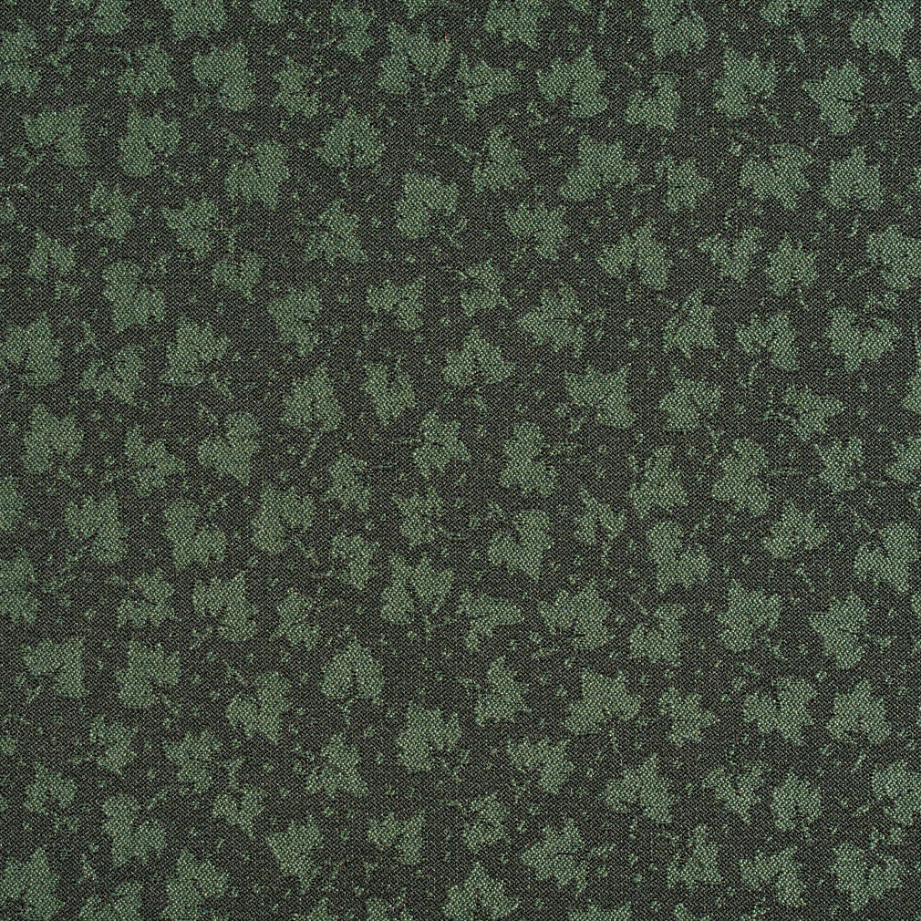 Spruce Green Foliage Leaf Pattern Damask Upholstery Fabric