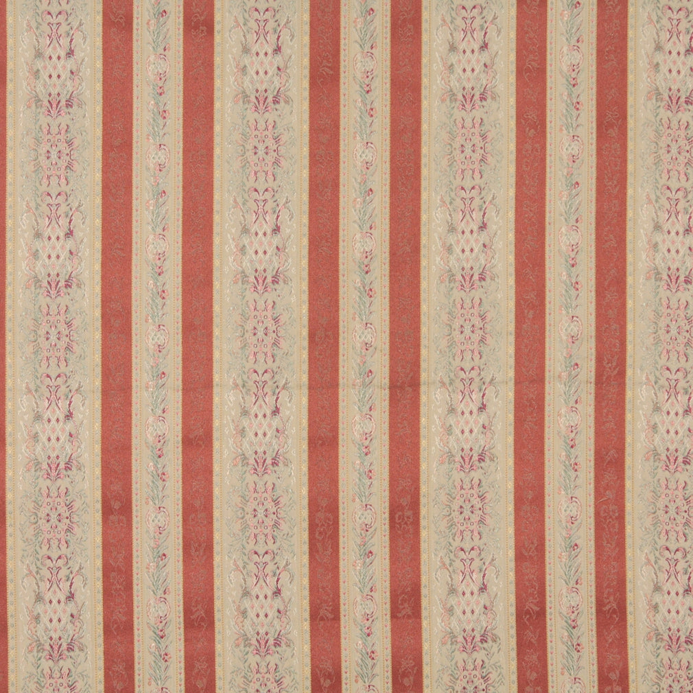 Rose Beige and Coral Heirloom Brocade Stripe Upholstery Fabric