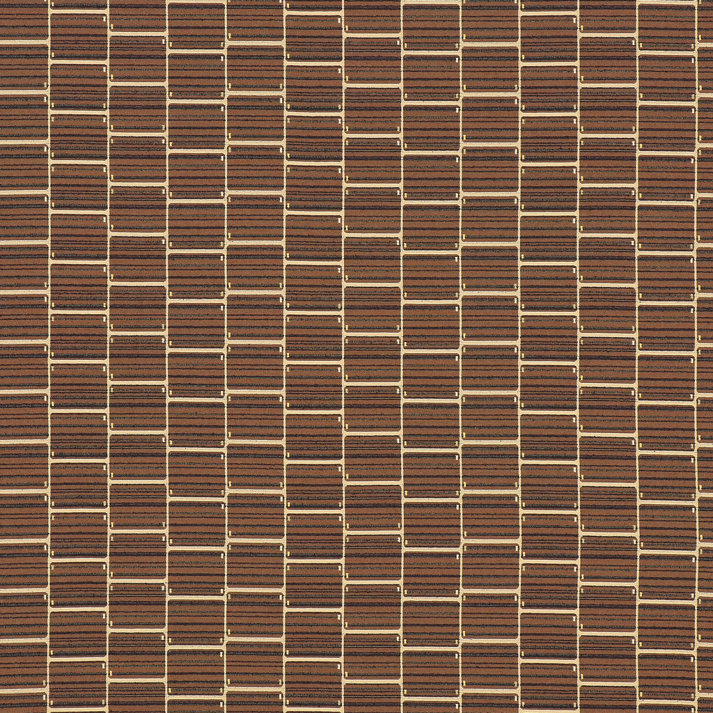 Carrel Nutmeg Brown Gray Black Ebony Geometric Woven Textured Upholstery Fabric