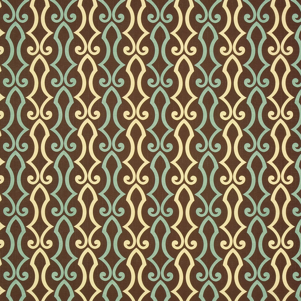 Cascade Coast Brown Brown Chocolate Tan Beige Curvilinear Wove Upholstery Fabric