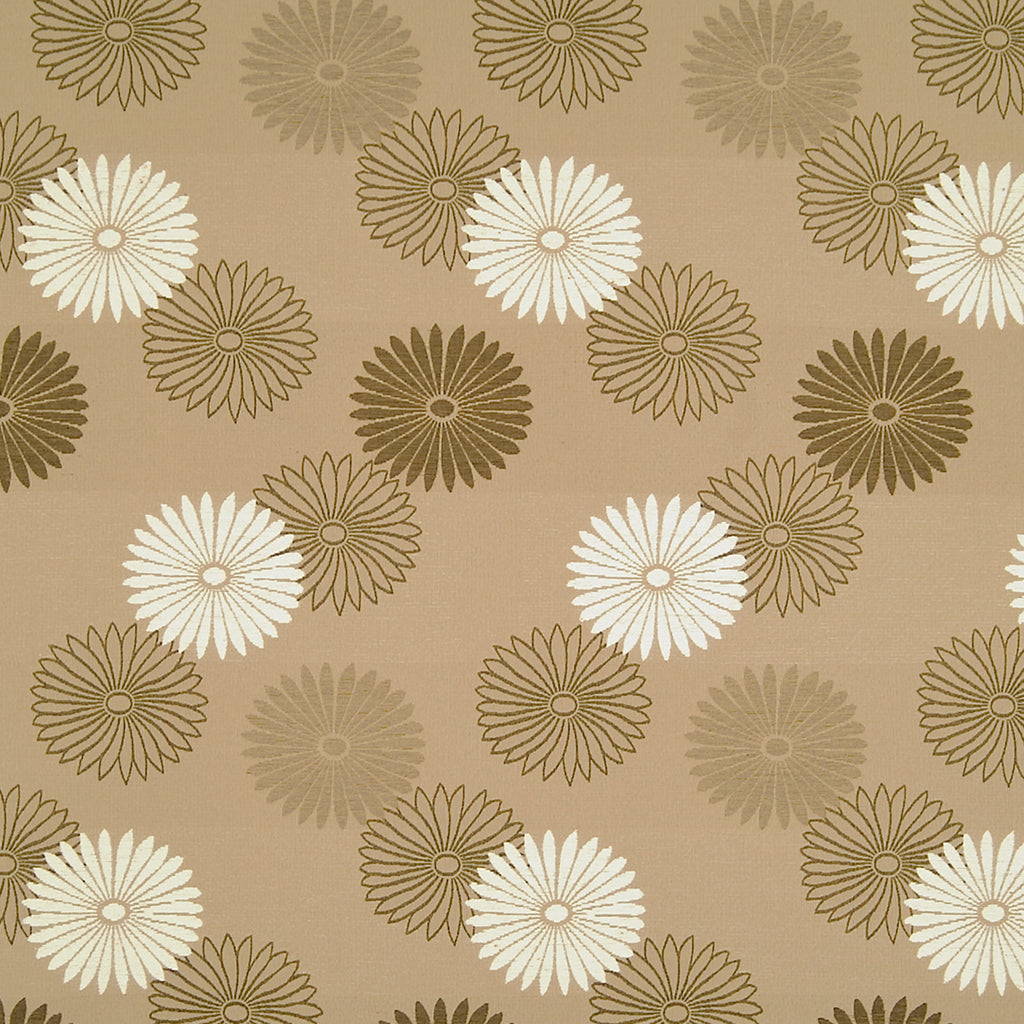 Daisy Mae Kickapoo Brown Blue Tan Beige True Blue Leaves Flora Upholstery Fabric