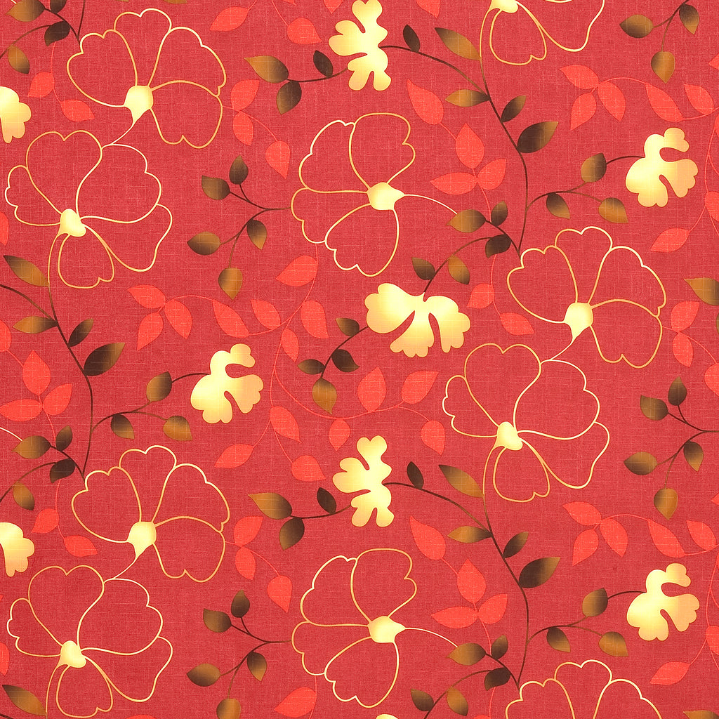 Essence Sol Red Brown True Red Tan Beige Leaves Floral Woven F Upholstery Fabric