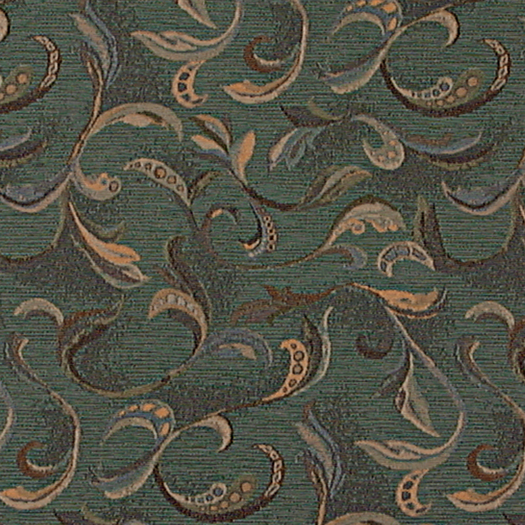 Fathom League Green Brown Teal Green Tan Beige Leaves Floral W Upholstery Fabric