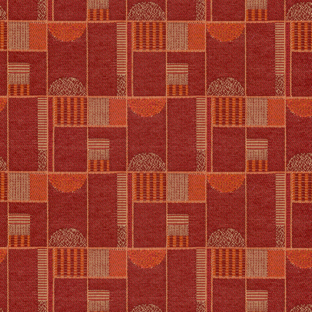 Fenner Red Red Red Burgundy Burgundy Geometric Woven Flat Upholstery Fabric
